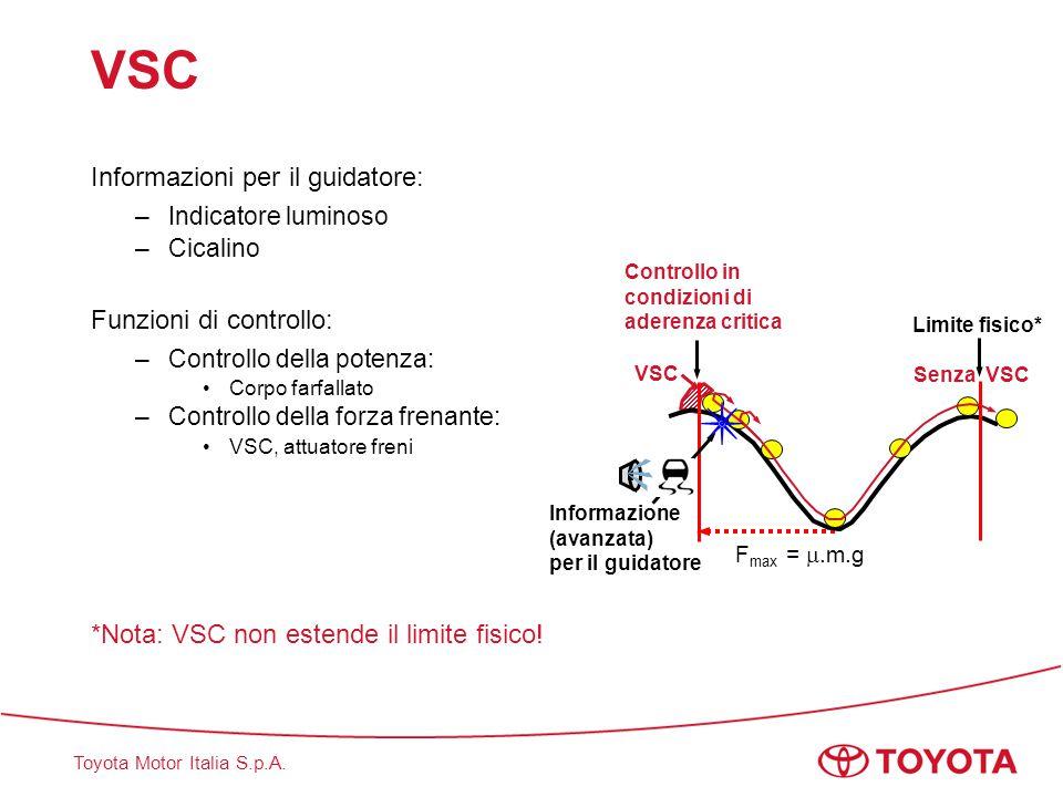 VSC Informazioni per il guidatore: Funzioni di controllo: