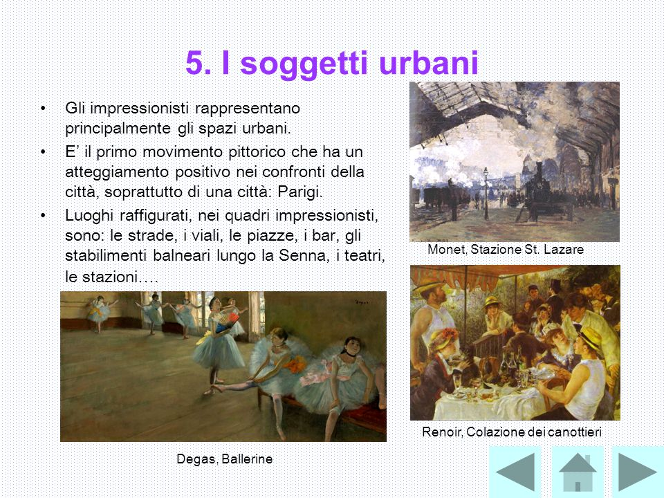 5. I soggetti urbani Gli impressionisti rappresentano principalmente gli spazi urbani.