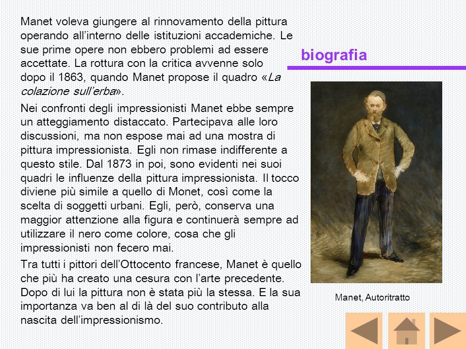 Manet voleva giungere al rinnovamento della pittura operando all'interno delle istituzioni accademiche. Le sue prime opere non ebbero problemi ad essere accettate. La rottura con la critica avvenne solo dopo il 1863, quando Manet propose il quadro «La colazione sull'erba».