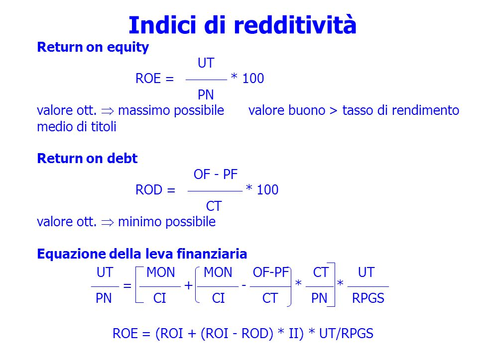 Indici di redditività UT MON MON OF-PF CT UT Return on equity UT