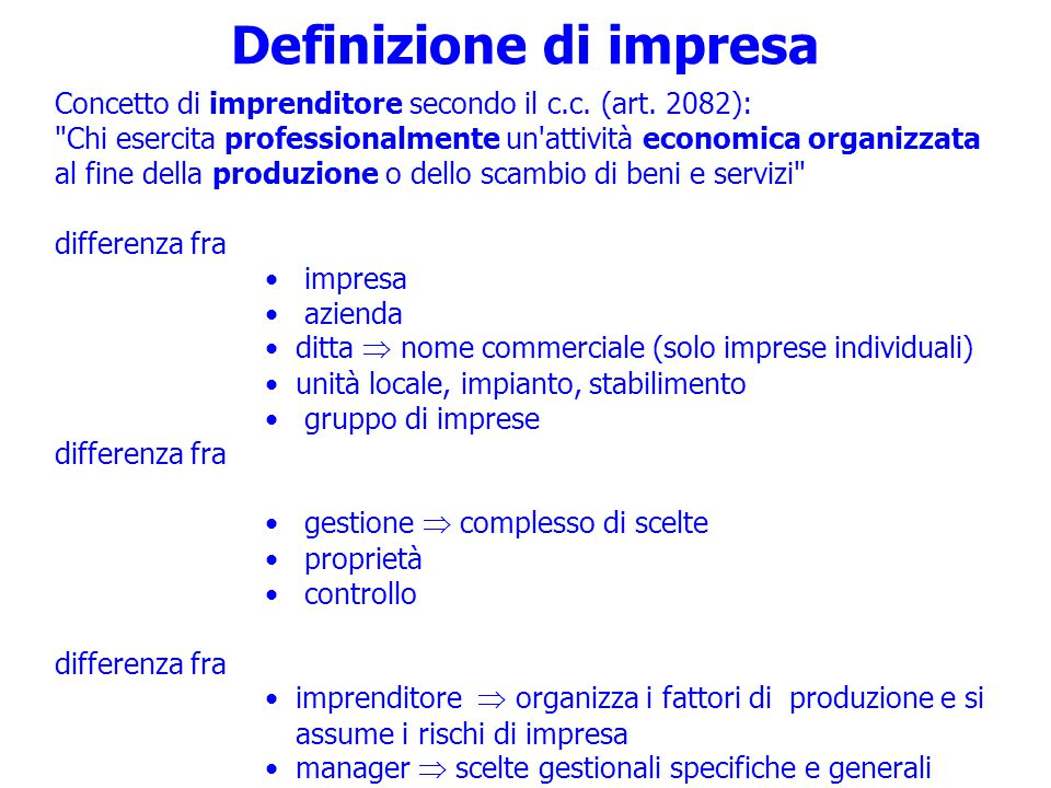 Definizione di impresa