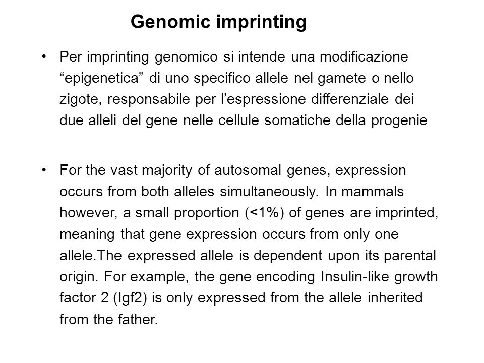 Genomic imprinting