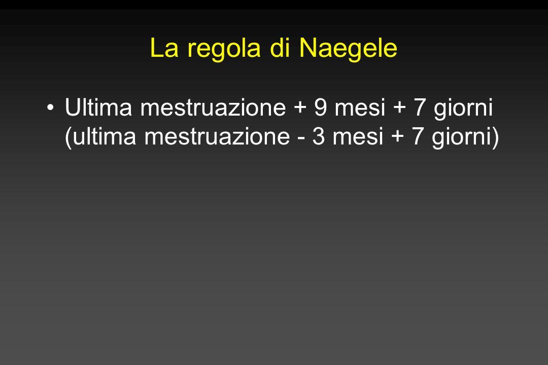 La regola di Naegele Ultima mestruazione + 9 mesi + 7 giorni (ultima mestruazione - 3 mesi + 7 giorni)