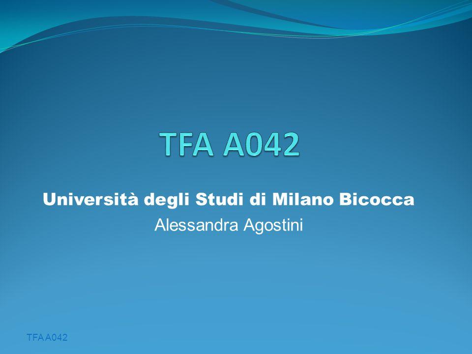Università degli Studi di Milano Bicocca Alessandra Agostini
