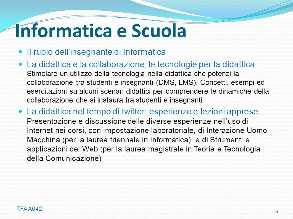 Informatica e Scuola Il ruolo dell'insegnante di Informatica