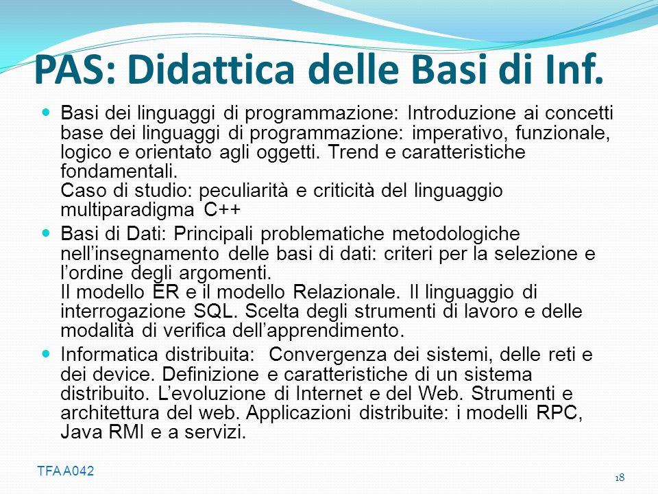 PAS: Didattica delle Basi di Inf.