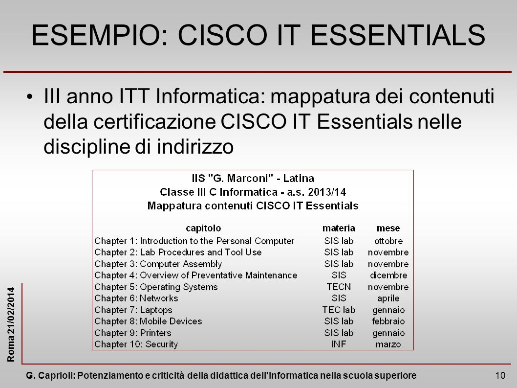 ESEMPIO: CISCO IT ESSENTIALS
