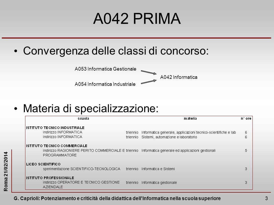 A042 PRIMA Convergenza delle classi di concorso: