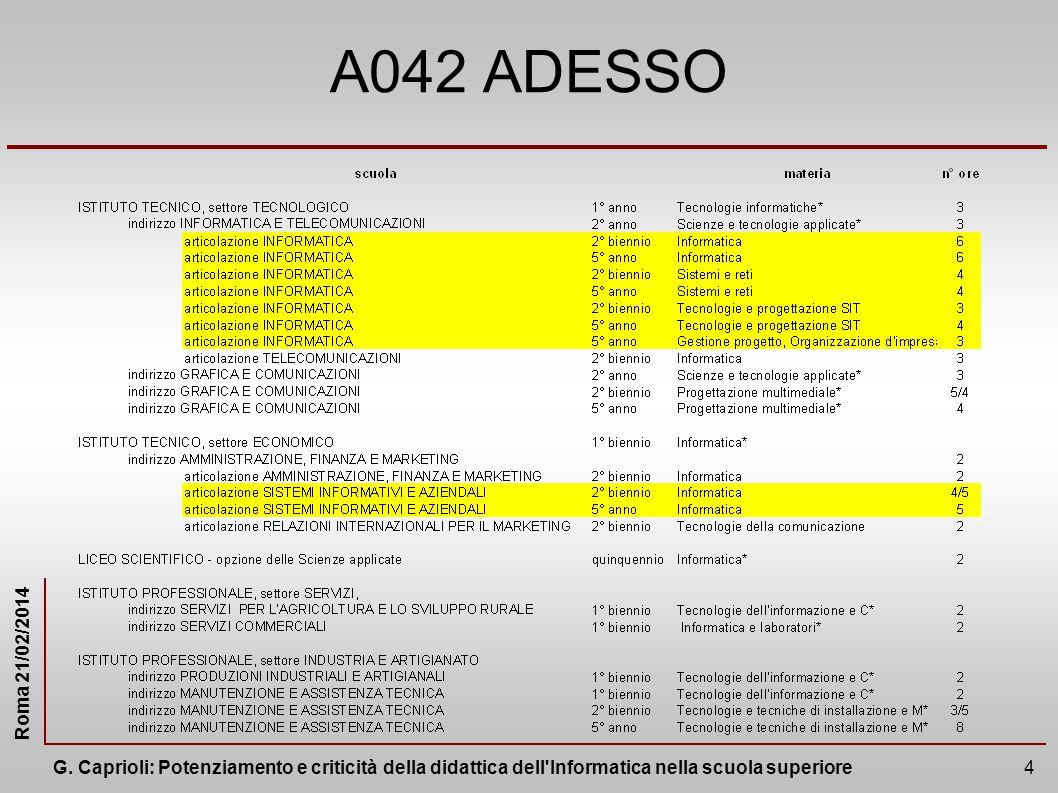 A042 ADESSO Da materiaa di specializzazione a metria anche trasversale