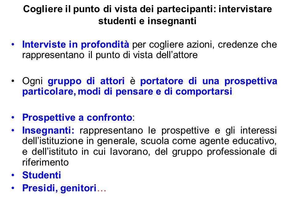 Cogliere il punto di vista dei partecipanti: intervistare studenti e insegnanti