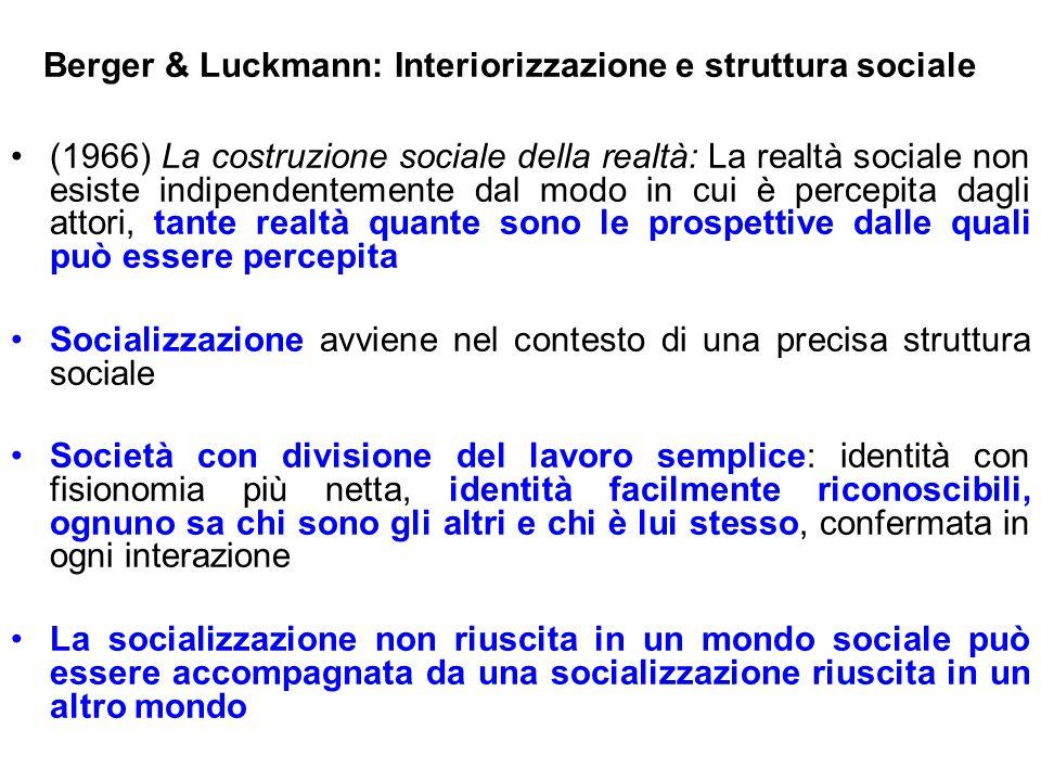Berger & Luckmann: Interiorizzazione e struttura sociale