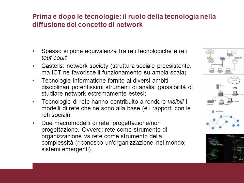 Prima e dopo le tecnologie: il ruolo della tecnologia nella diffusione del concetto di network