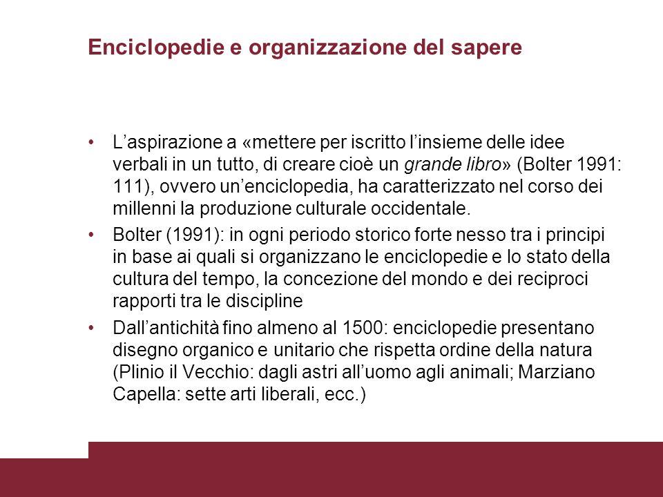 Enciclopedie e organizzazione del sapere
