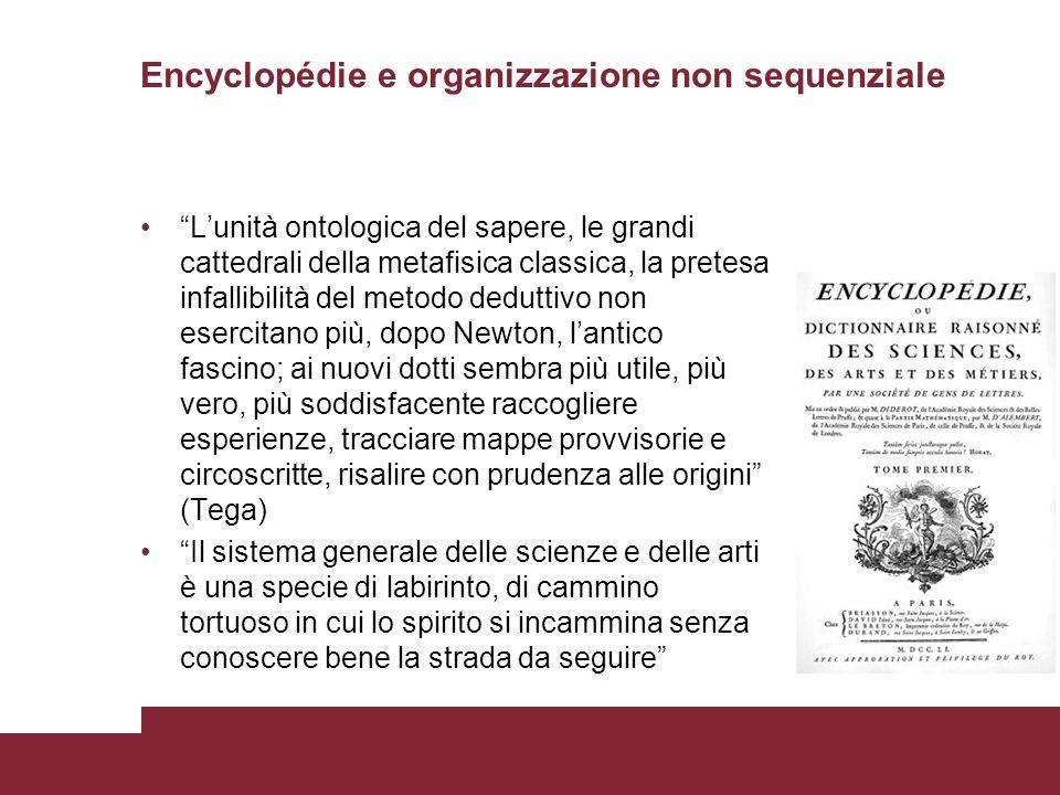 Encyclopédie e organizzazione non sequenziale