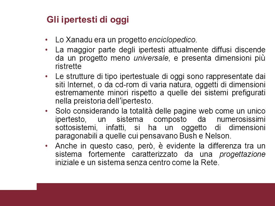 Gli ipertesti di oggi Lo Xanadu era un progetto enciclopedico.