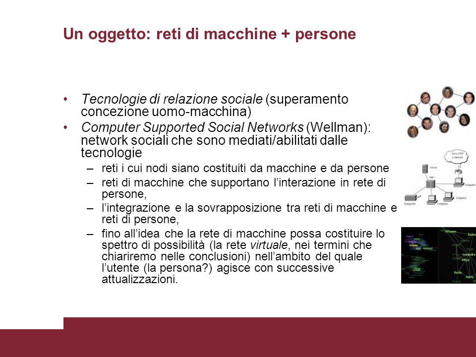 Un oggetto: reti di macchine + persone