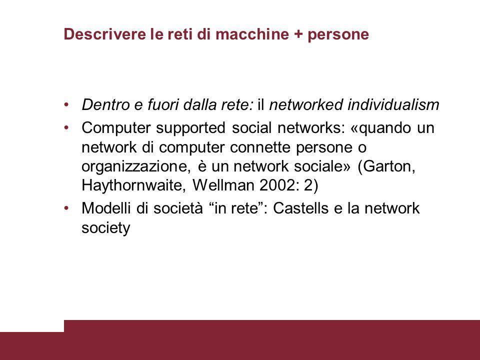 Descrivere le reti di macchine + persone