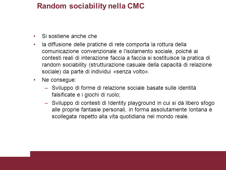 Random sociability nella CMC