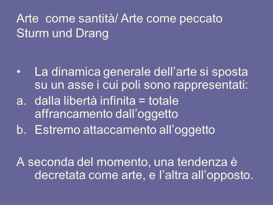 Arte come santità/ Arte come peccato Sturm und Drang