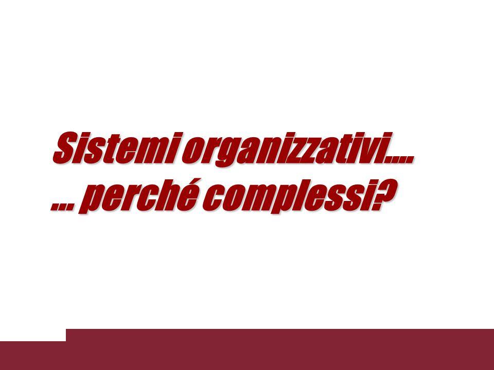 Sistemi organizzativi.... ... perché complessi