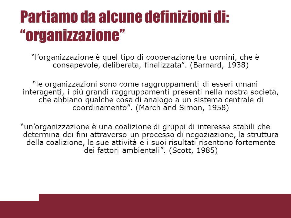 Partiamo da alcune definizioni di: organizzazione