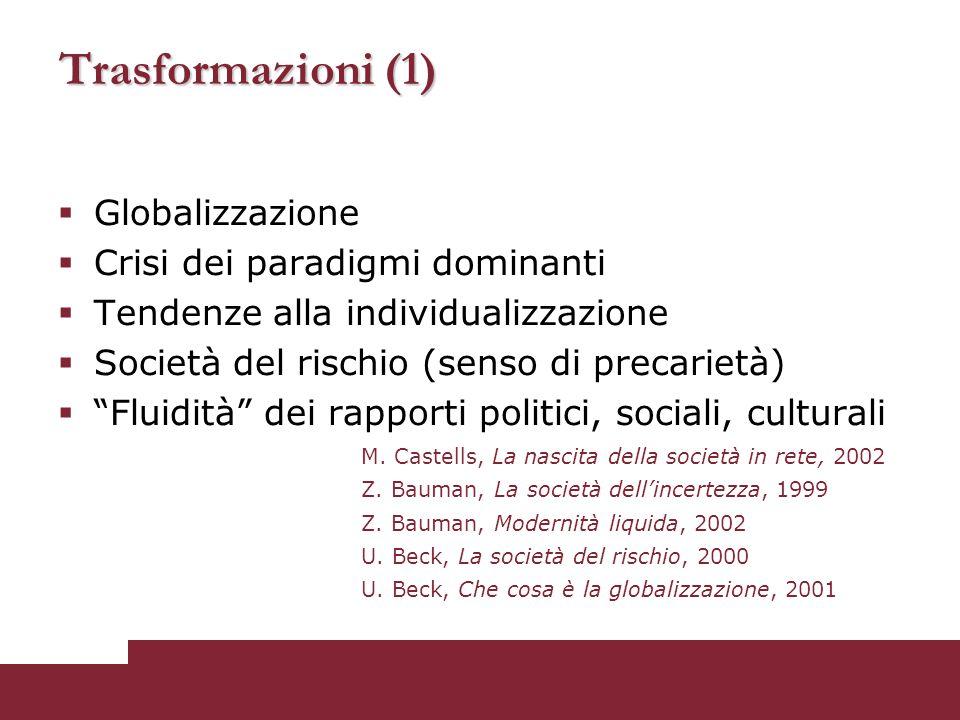 Trasformazioni (1) Globalizzazione Crisi dei paradigmi dominanti