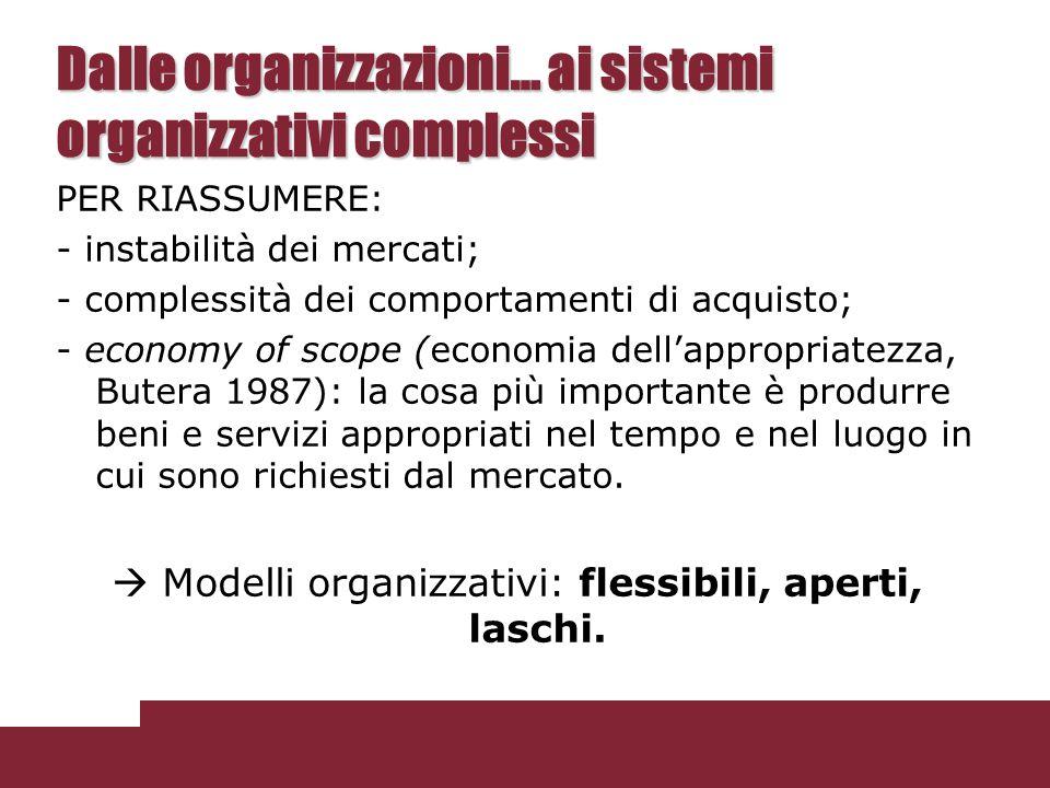 Dalle organizzazioni… ai sistemi organizzativi complessi