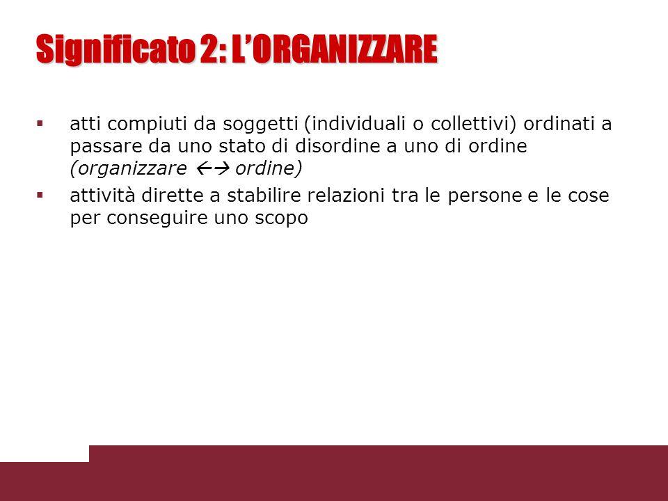 Significato 2: L'ORGANIZZARE