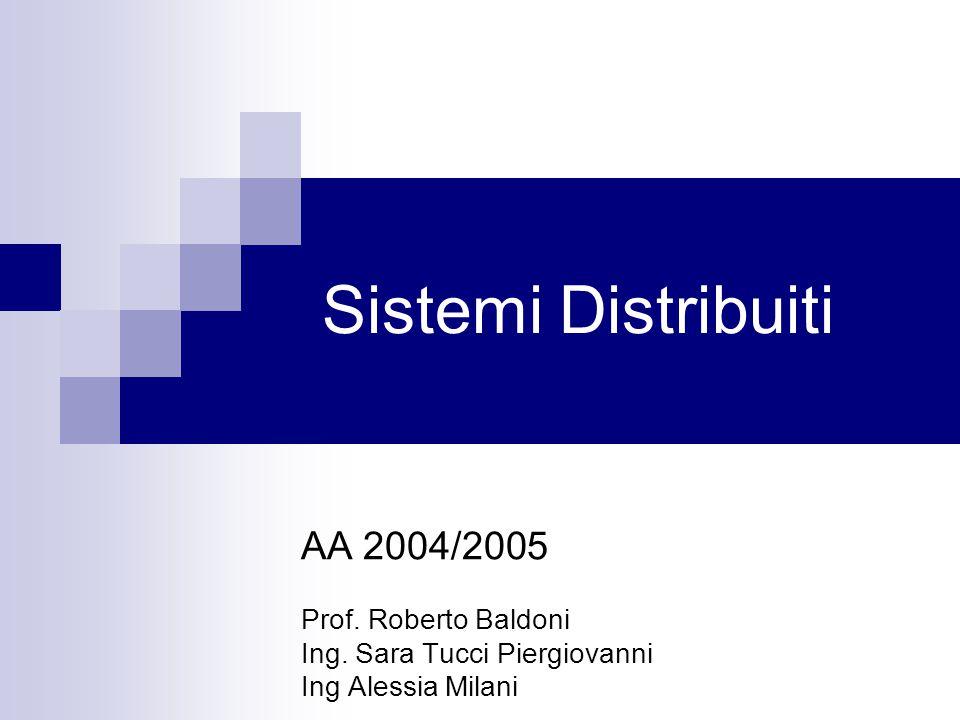 Sistemi Distribuiti AA 2004/2005 Prof. Roberto Baldoni