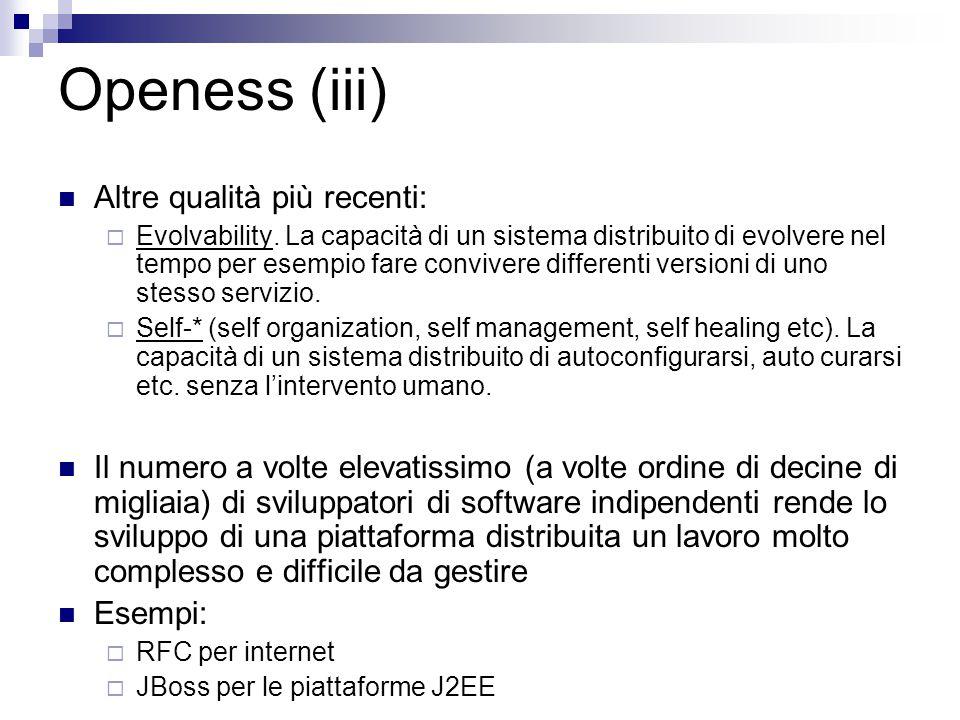 Openess (iii) Altre qualità più recenti: