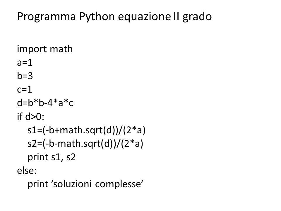 Programma Python equazione II grado