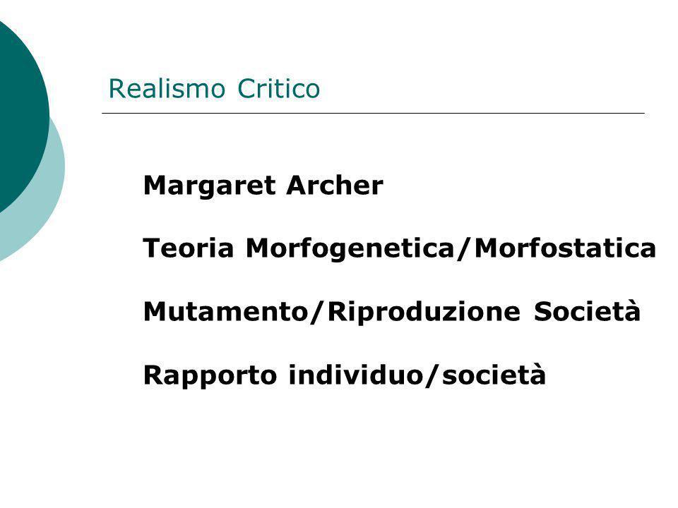 Realismo Critico. Margaret Archer. Teoria Morfogenetica/Morfostatica