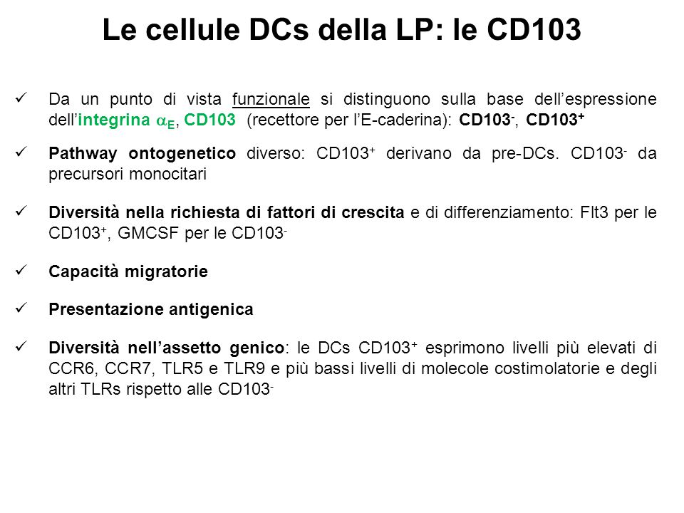 Le cellule DCs della LP: le CD103