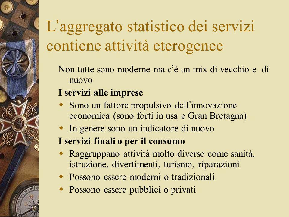 L'aggregato statistico dei servizi contiene attività eterogenee
