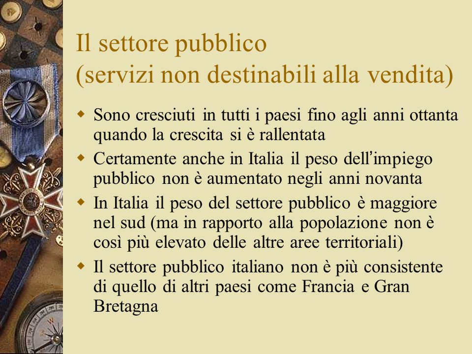 Il settore pubblico (servizi non destinabili alla vendita)