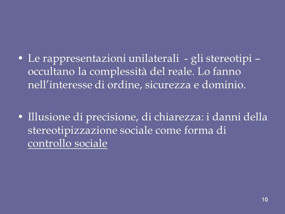Le rappresentazioni unilaterali - gli stereotipi – occultano la complessità del reale. Lo fanno nell'interesse di ordine, sicurezza e dominio.