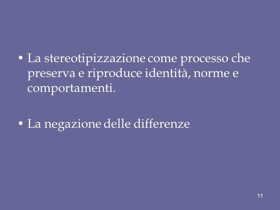 La stereotipizzazione come processo che preserva e riproduce identità, norme e comportamenti.