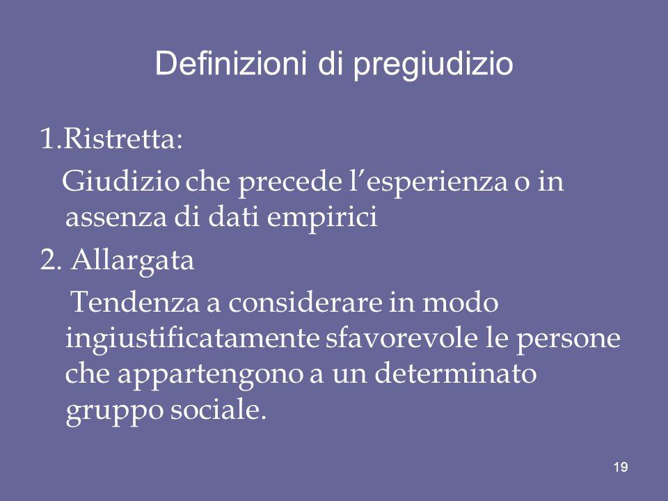 Definizioni di pregiudizio