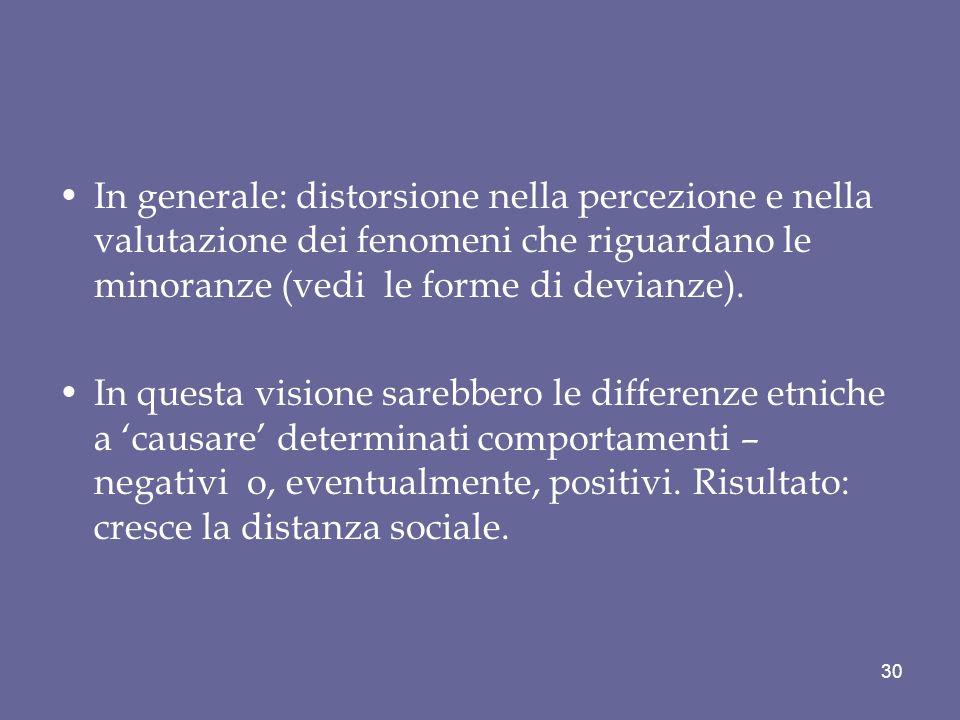 In generale: distorsione nella percezione e nella valutazione dei fenomeni che riguardano le minoranze (vedi le forme di devianze).