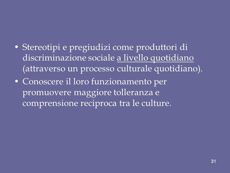 Stereotipi e pregiudizi come produttori di discriminazione sociale a livello quotidiano (attraverso un processo culturale quotidiano).