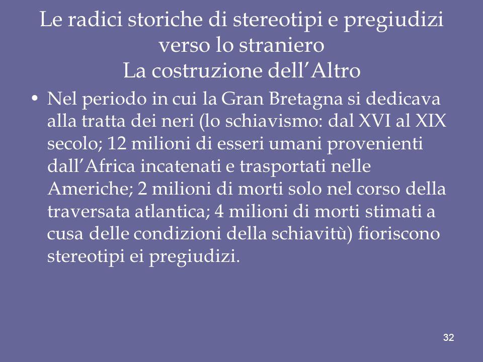 Le radici storiche di stereotipi e pregiudizi verso lo straniero La costruzione dell'Altro
