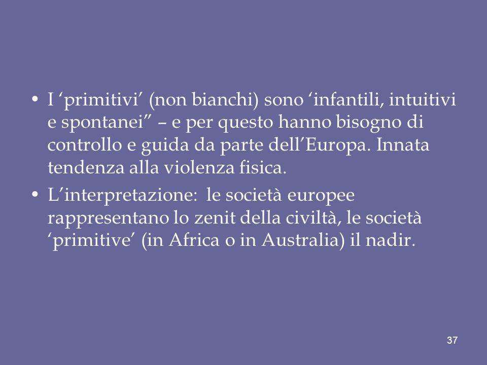 I 'primitivi' (non bianchi) sono 'infantili, intuitivi e spontanei – e per questo hanno bisogno di controllo e guida da parte dell'Europa. Innata tendenza alla violenza fisica.