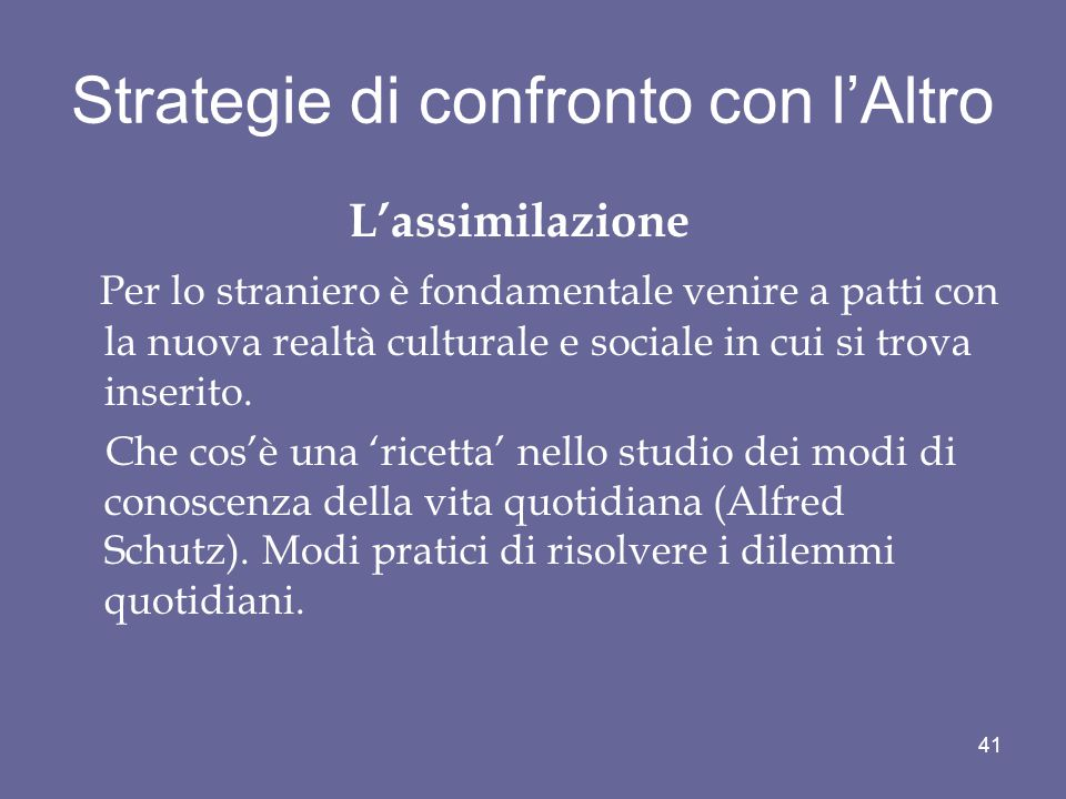 Strategie di confronto con l'Altro