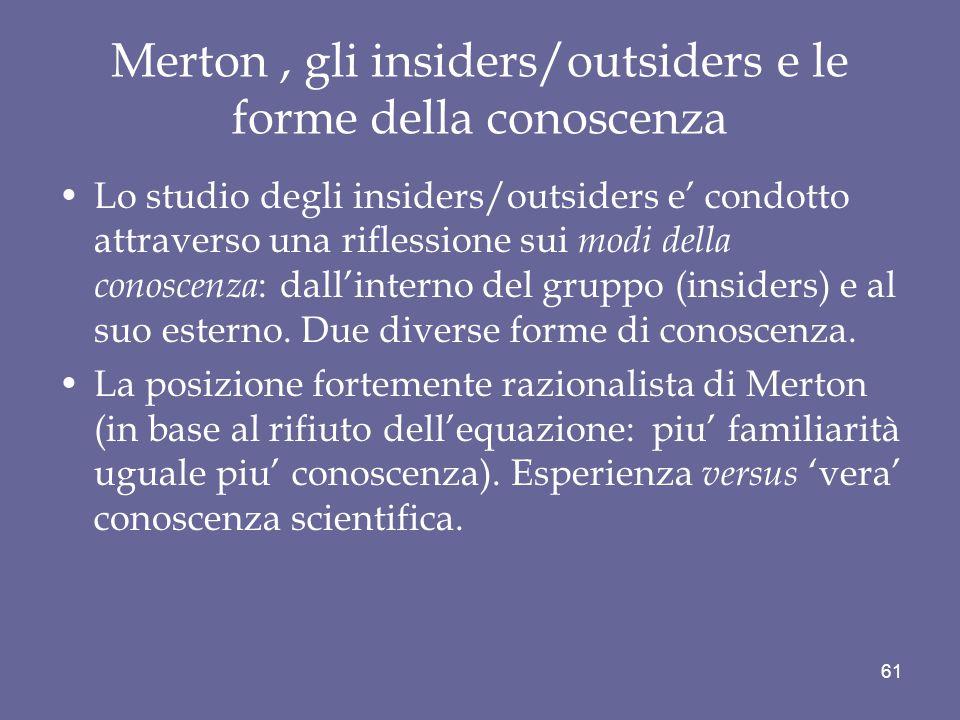 Merton , gli insiders/outsiders e le forme della conoscenza
