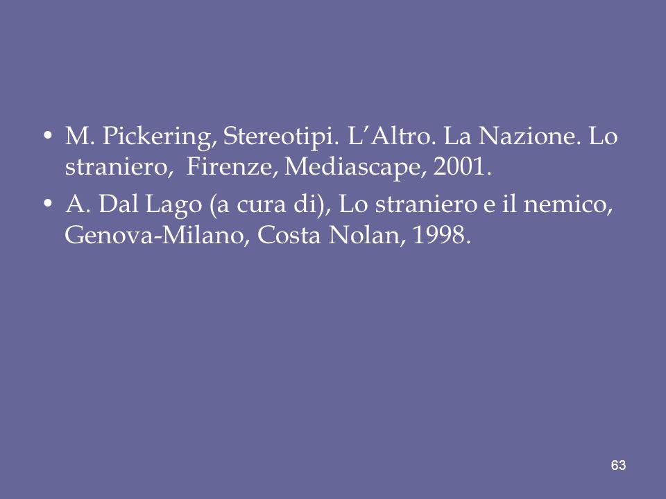 M. Pickering, Stereotipi. L'Altro. La Nazione