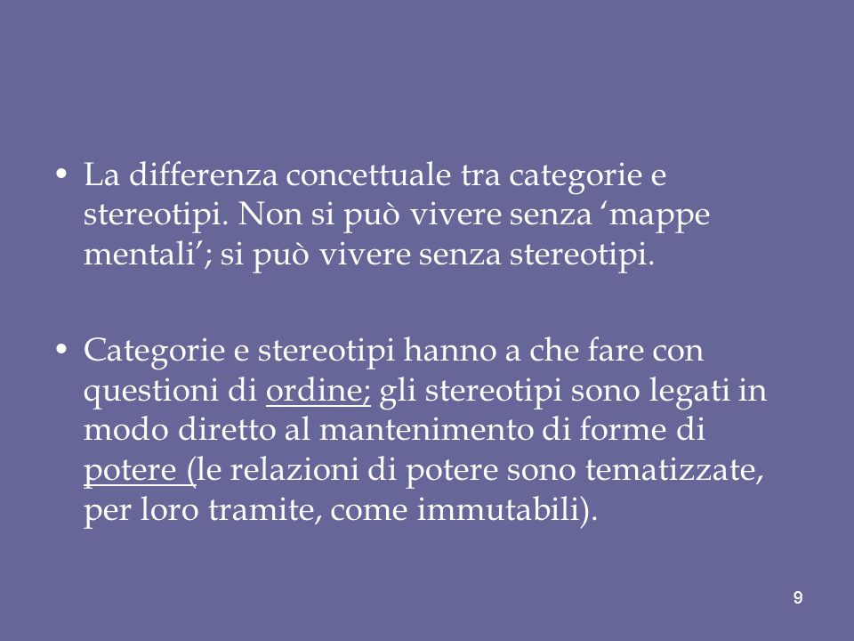 La differenza concettuale tra categorie e stereotipi