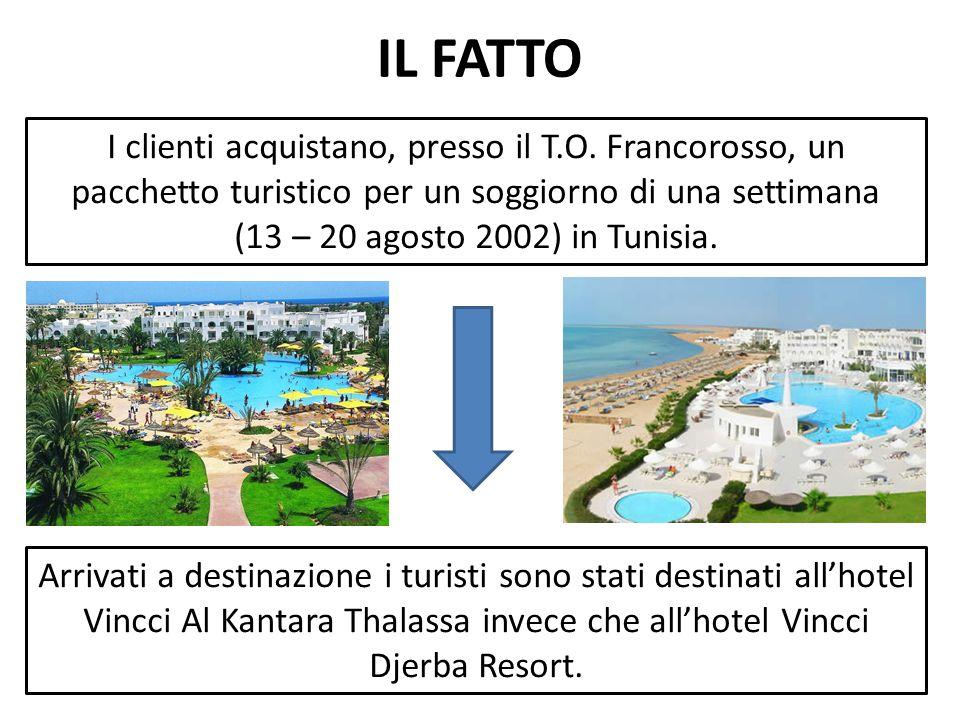 IL FATTO I clienti acquistano, presso il T.O. Francorosso, un pacchetto turistico per un soggiorno di una settimana.