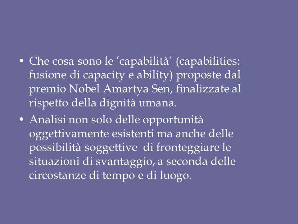 Che cosa sono le 'capabilità' (capabilities: fusione di capacity e ability) proposte dal premio Nobel Amartya Sen, finalizzate al rispetto della dignità umana.
