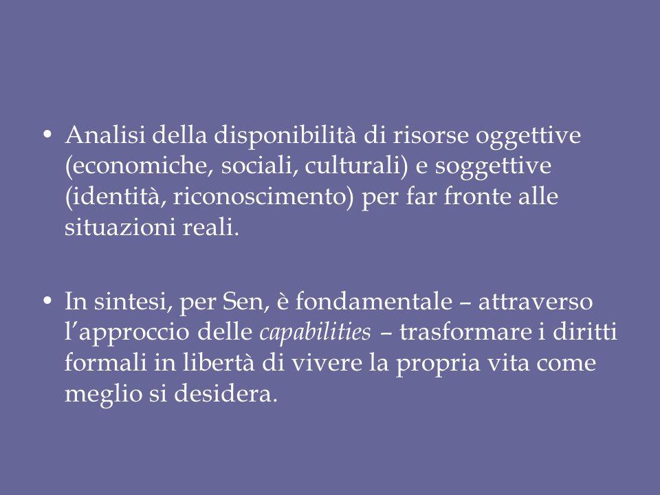 Analisi della disponibilità di risorse oggettive (economiche, sociali, culturali) e soggettive (identità, riconoscimento) per far fronte alle situazioni reali.
