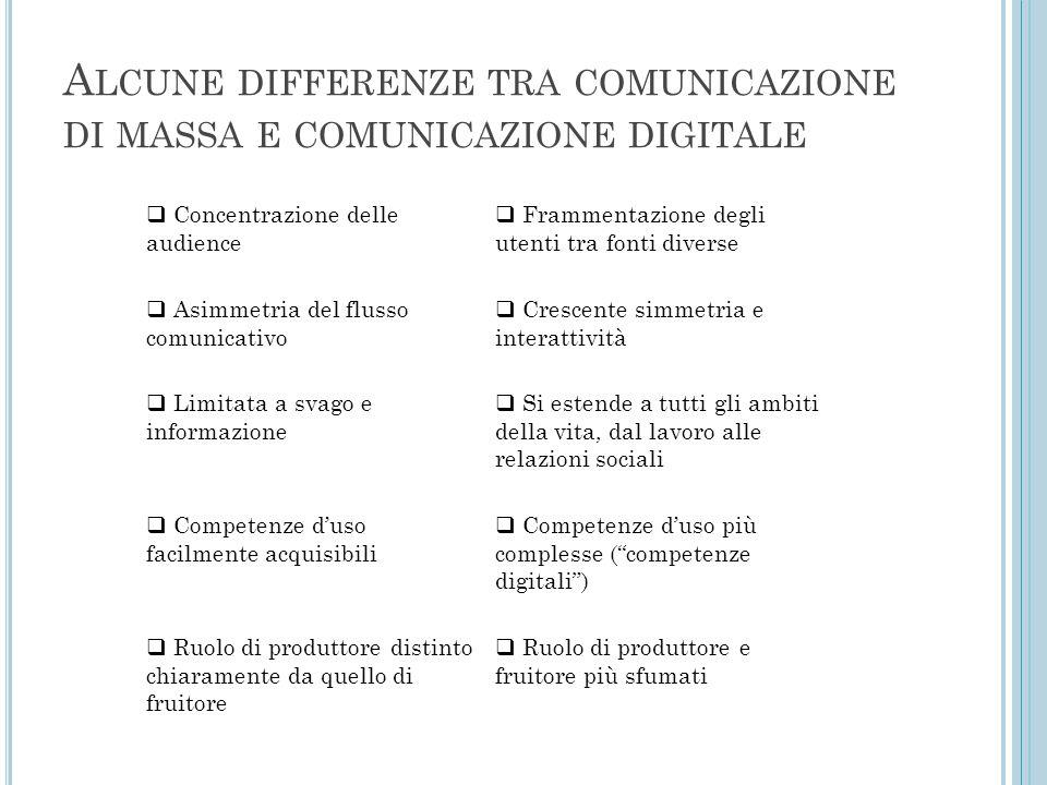 Alcune differenze tra comunicazione di massa e comunicazione digitale